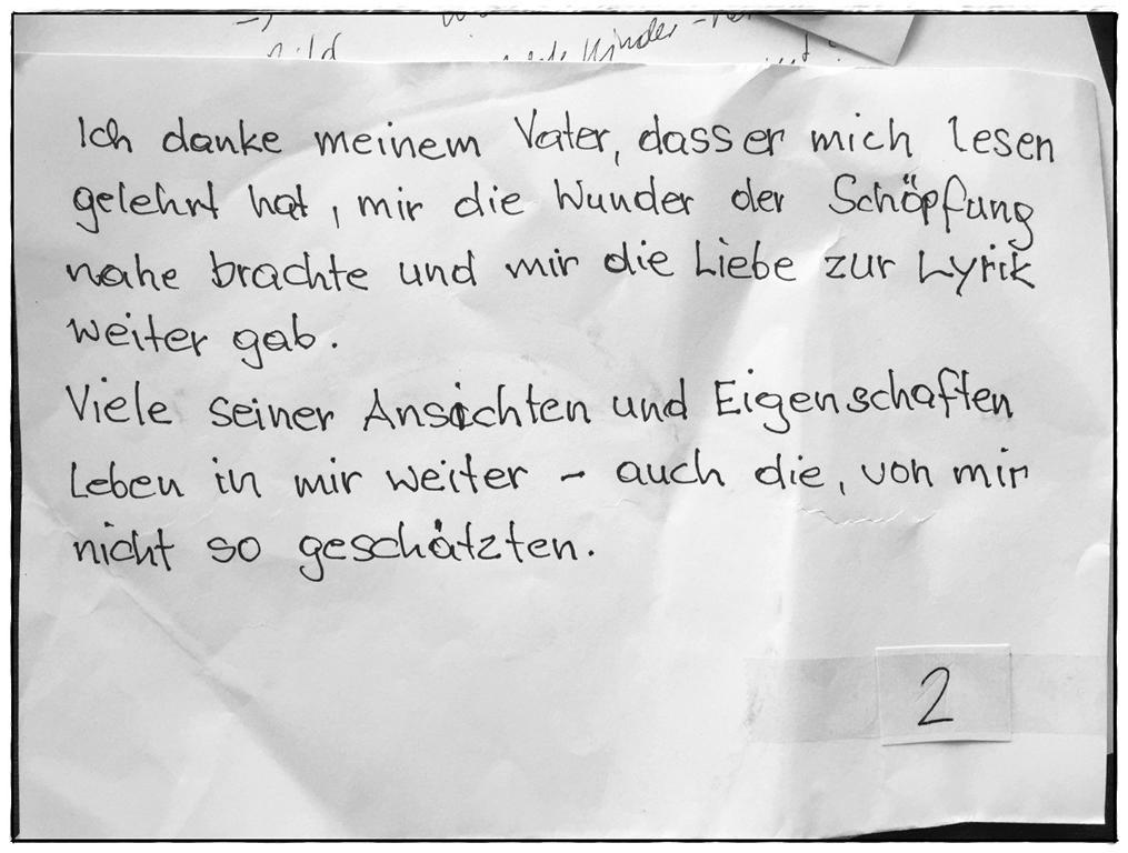 Brief einer Teilnehmerin